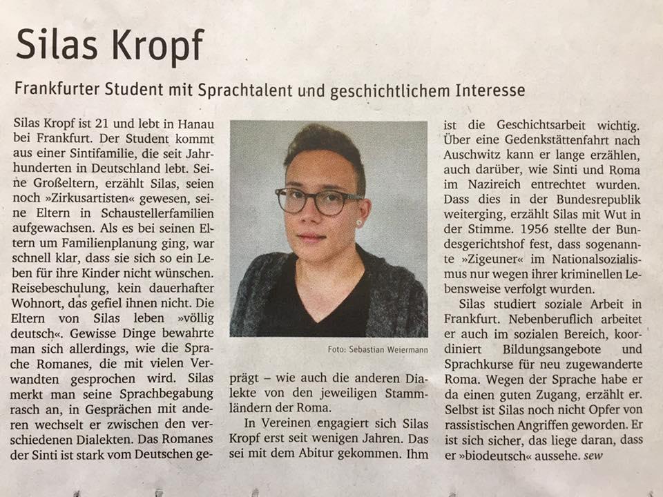 Weiermann, S. (04.10.2016): Silas Kropf. In: Neues Deutschland, S. 2.