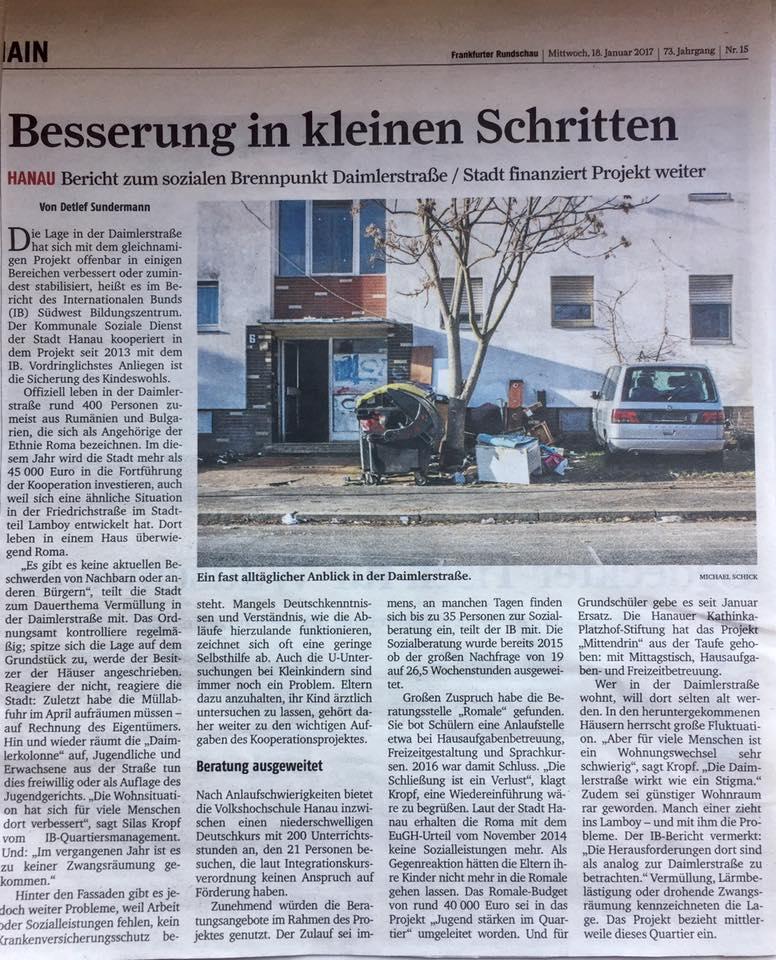 """Sundermann, D. (18.01.17): """"Besserung in kleinen Schritten"""". In: Frankfurter Rundschau."""